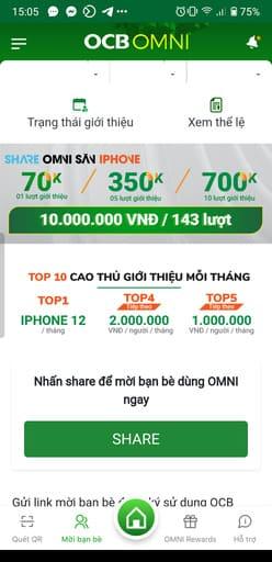 Cách nhận 100k miễn phí trên OCB OMNI 61